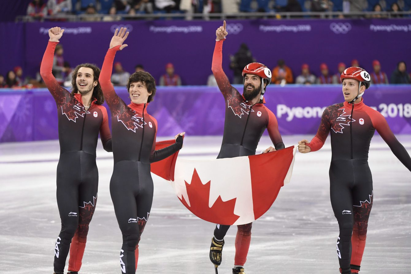 Team Canada Samuel Girard Charle Cournoyer Charles Hamelin Pascal Dion PyeongChang 2018