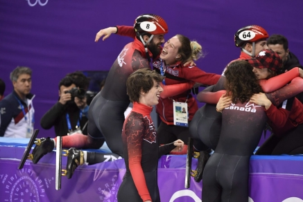 Team Canada Charles Hamelin Charle Cournoyer Pascal Dion Samuel Girard PyeongChang 2018