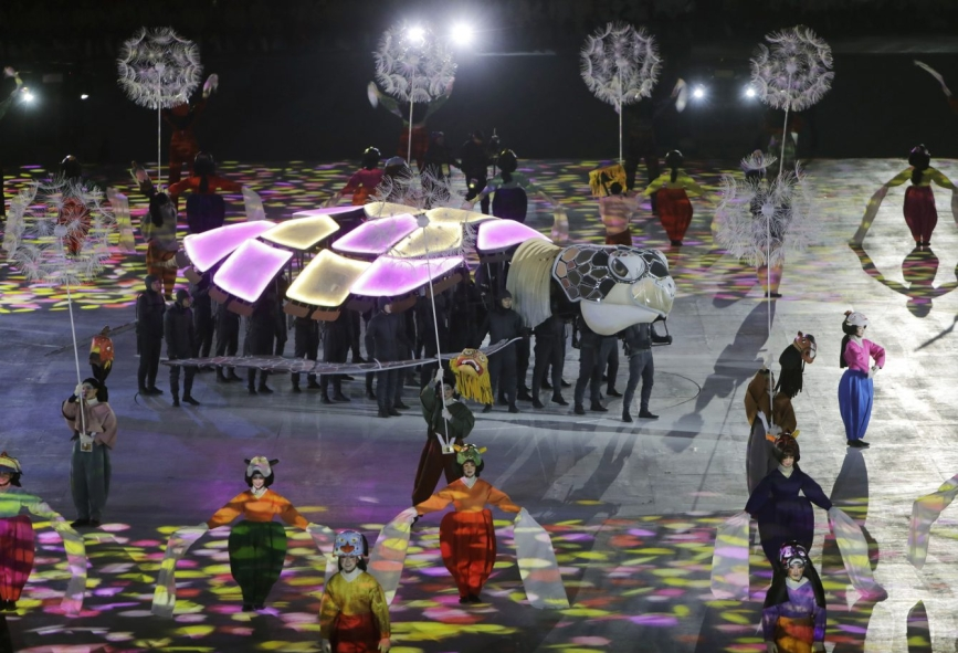 Performers act out a scene during the closing ceremony of the 2018 Winter Olympics in Pyeongchang, South Korea, Sunday, Feb. 25, 2018. (AP Photo/Michael Probst)