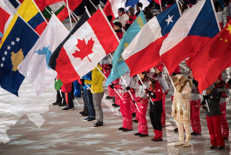Canadian flag at the Olympic stadium during the closing ceremonies at the 2018 Pyeongchang Olympic Winter Games in Pyeongchang, South Korea, on Sunday, February 25, 2018. THE CANADIAN PRESS/Nathan Denette