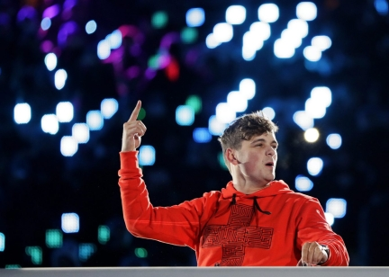 DJ Martin Garrix performs during the closing ceremony of the 2018 Winter Olympics in Pyeongchang, South Korea, Sunday, Feb. 25, 2018. (AP Photo/Kirsty Wigglesworth)