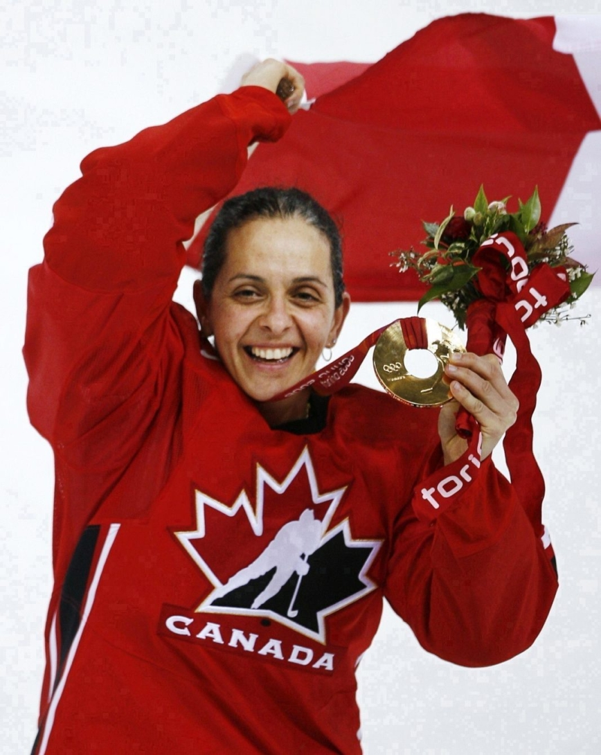 Canada's Danielle Goyette shows off her medal
