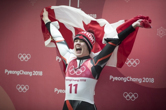 Team Canada's Alex Gough celebrates winning Bronze in Ladies Single Luge
