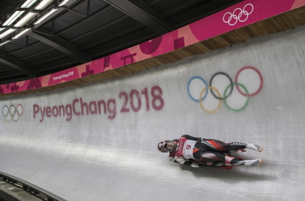 Team Canada double's luge team of Tristan Walker and Justin Snith compete in the mens final the Alpensia Sliding Centre during the Winter Olympic Games, in Pyeongchang, South Korea, Wednesday, February 14, 2018. . Photo/David Jackson