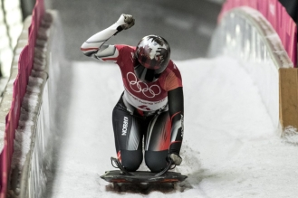 Team Canada's ladies Skeleton athlete Elisabeth Vathje races in the final heat at Alpensia Sliding Centre during the Winter Olympic Games, in Pyeongchang, South Korea, Saturday, February 17, 2018. Photo/David Jackson