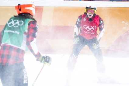 Team Canada's Kelsey Serwa and Brittany Phelan win Gold and Silver in the Ladies Ski Cross at Phoenix Snow Park during the PyeongChang 2018 Olympic Winter Games in Bokwang, South Korea, Friday, February 23, 2018. COC – David Jackson