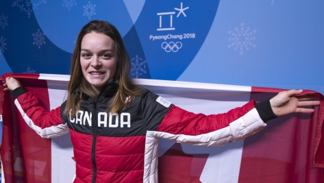 Team Canada's Kim Boutin is named the Flag Bearer ahead of the closing ceremonies for the PyeongChang 2018 Olympic Winter Games in Pyeongchang, South Korea,Saturday, February 24, 2018. COC – David Jackson