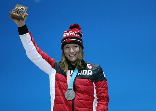 Canada's Brittany Phelan collects her silver medal in ski cross at the PyeongChang 2018 Olympic Winter Games in Korea, Friday, February 23, 2018. THE CANADIAN PRESS/HO - COC Ð David Jackson