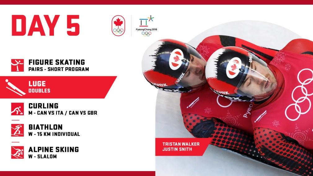 PyeongChang 2018: Day 5 schedule