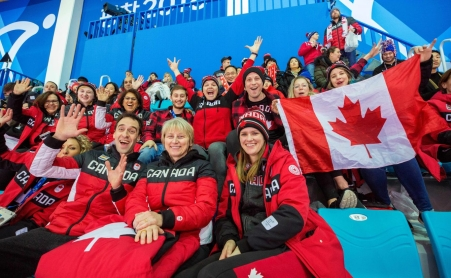 Fans cheer on Canada's women's hockey team in Gangneung, South Korea Feb 11, 2018. Photo by Deb Ransom