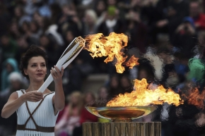 Actress playing the role of high priestess lights the Pyeongchang Olympic torch
