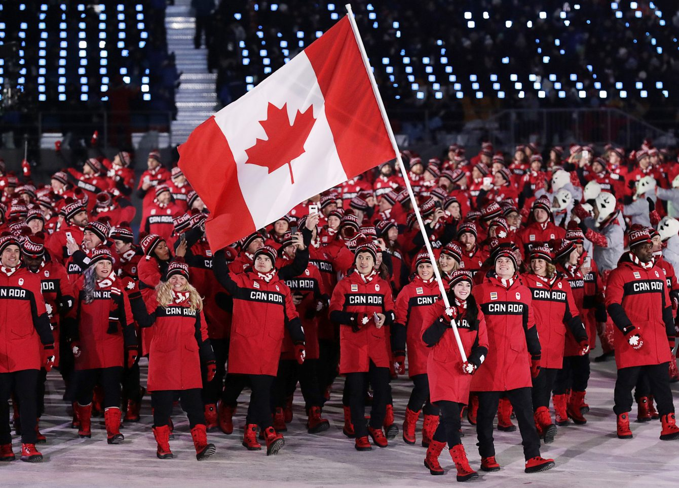 Team Canada Marching in the 2018 PyeongChang Winter Games