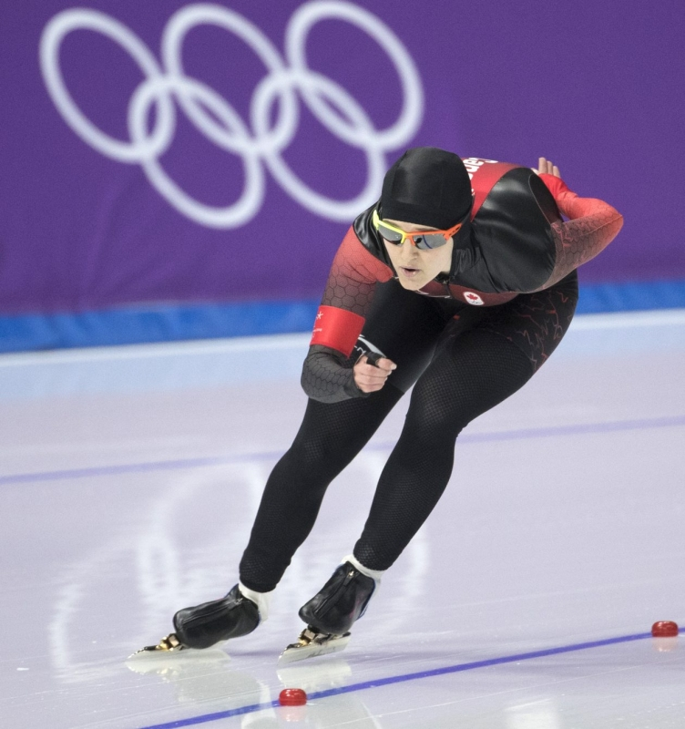 Canada's Heather McLean competes in the ladies' 1000m race during at the PyeongChang 2018 Olympic Winter Games in Korea, Wednesday, February 14, 2018. THE CANADIAN PRESS/HO - COC – Jason Ransom