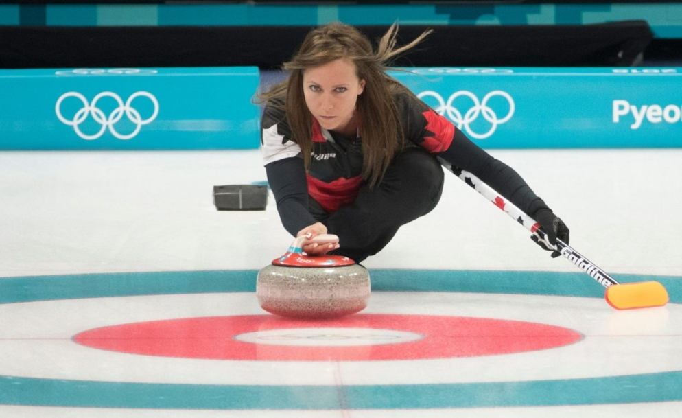 Team Canada skip Rachel Homan leaves the hack