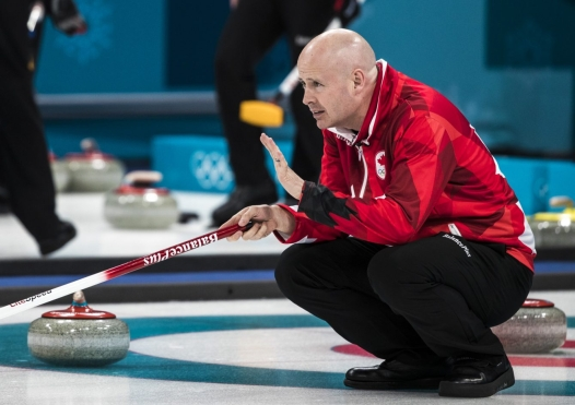 Team Canada's Team Koe in the Curling qualifiers at PyeongChang 2018, Wednesday, February 14, 2018. COC Photo by Stephen Hosier