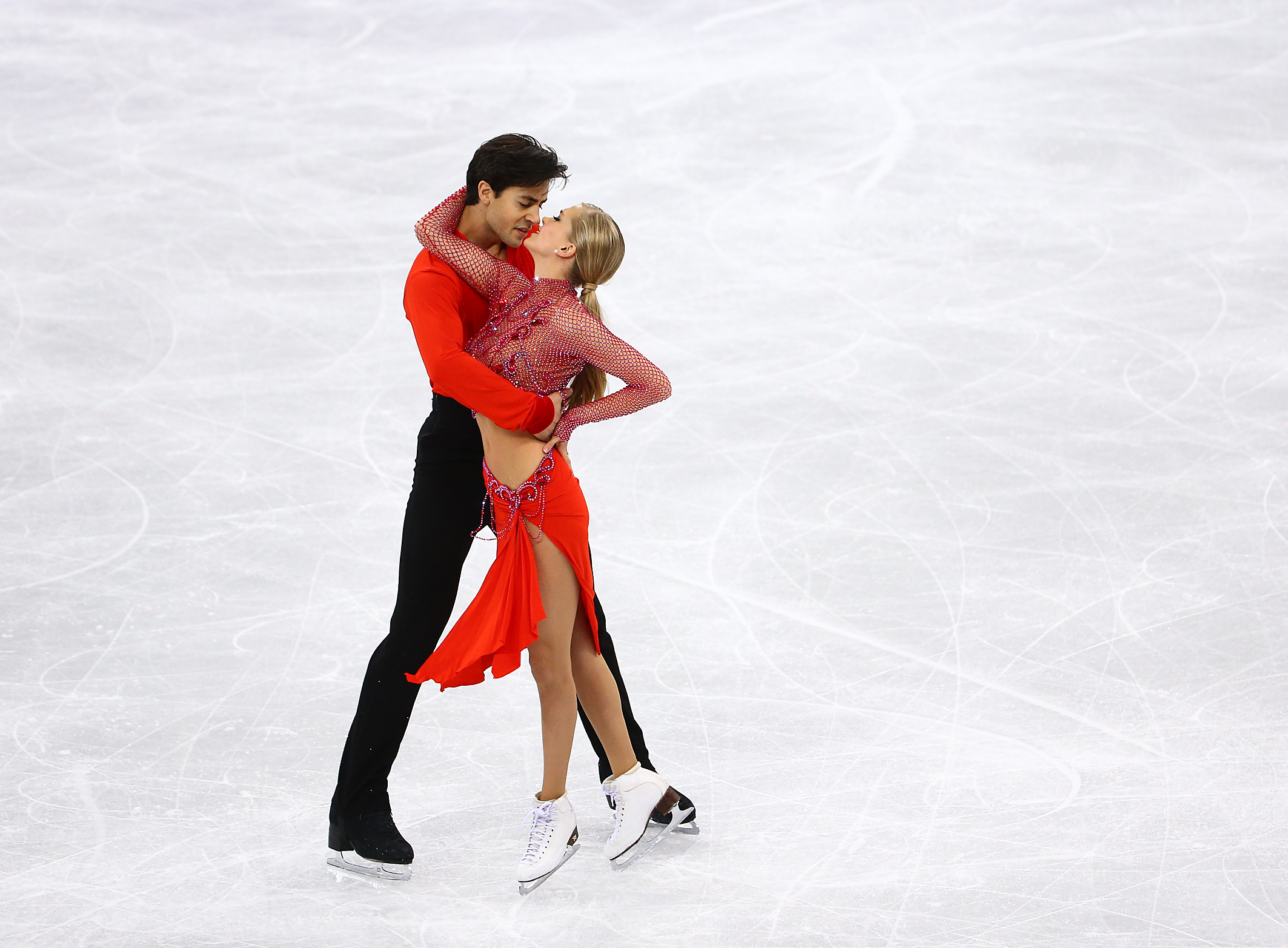 Kaitlyn Weaver and Andrew Poje of Canada compete in the Figure Skating Ice Dance Short Program at the Gangneung Ice Arena during the PyeongChang 2018 Olympic Winter Games in PyeongChang, South Korea on February 19, 2018. (Photo by Vaughn Ridley/COC)