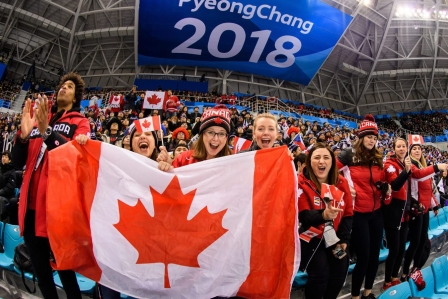 Canada Fans celebrate the 2nd goal of Canada during the Men's Ice Hockey Preliminary Round Group A game between Olympic Athletes from Czech Rebuplic and Canada at Gangneung Hockey Centre on February 17, 2018 in Gangneung, South Korea. (Photo by Vincent Ethier/COC)