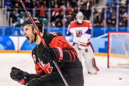 Canada forward Wojciech Wolski (8) celebrates after scoring during the shootout of the Men's Ice Hockey Preliminary Round Group A game between Olympic Athletes from Czech Rebuplic and Canada at Gangneung Hockey Centre on February 17, 2018 in Gangneung, South Korea. (Photo by Vincent Ethier/COC)