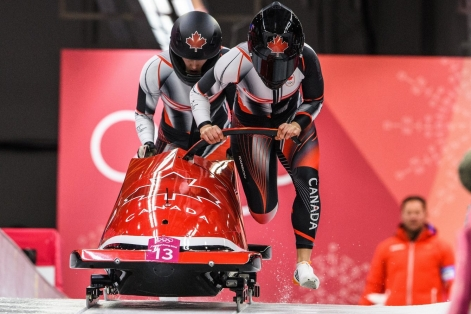 PYEONGCHANG, SOUTH KOREA - FEBRUARY 20: Christine De Bruin and Melissa Lothotz compete in the Bobsleigh - Women at the 2018 Pyeongchang Winter Olympics Olympic Sliding Centre in Alpensia in Pyeongchang in South Korea. February 20, 2018(Photo by Vincent Ethier/COC)