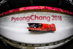 Humphries racing on the track in a bobsleigh