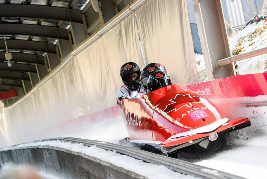 PYEONGCHANG, SOUTH KOREA - FEBRUARY 25: Christopher Spring, Lascelles Brown, Bryan Barnett and Neville Wright compete in the Bobsleigh 4 man at the 2018 Pyeongchang Winter Olympics Olympic Sliding Centre in Alpensia in Pyeongchang in South Korea. February 25, 2018(Photo by Vincent Ethier/COC)
