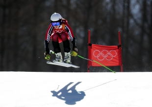 Roni Remme of Canada competes in the Ladies Super-G at the Jeongseon Alpine Centre during the PyeongChang 2018 Olympic Winter Games in PyeongChang, South Korea on February 17, 2018. (Photo by Vaughn Ridley/COC)