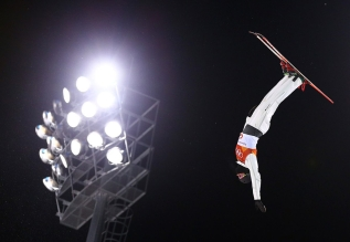 Lewis Irving of Canada competes in the Men's Aerials Qualifications at the Phoenix Snow Park during the PyeongChang 2018 Olympic Winter Games in PyeongChang, South Korea on February 17, 2018. (Photo by Vaughn Ridley/COC)