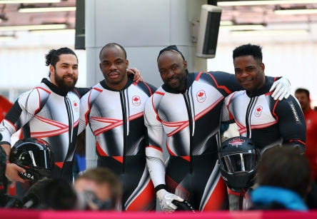 Christopher Spring, Lascelles Brown, Bryan Barnett and Neville Wright of Canada compete in the 4-man Bobsleigh at the Olympic Sliding Centre during the PyeongChang 2018 Olympic Winter Games in PyeongChang, South Korea on February 25, 2018. (Photo by Vaughn Ridley/COC)