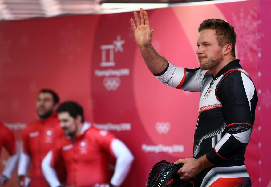 Justin Kripps, Jesse Lumsden, Alexander Kopacz and Oluseyi Smith of Canada compete in the 4-man Bobsleigh at the Olympic Sliding Centre during the PyeongChang 2018 Olympic Winter Games in PyeongChang, South Korea on February 25, 2018. (Photo by Vaughn Ridley/COC)