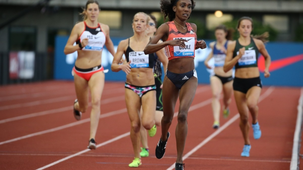 Lindsey Butterworth (far left) competes in the women's 800m at the Prefontaine Classic in Eugene, Oregon