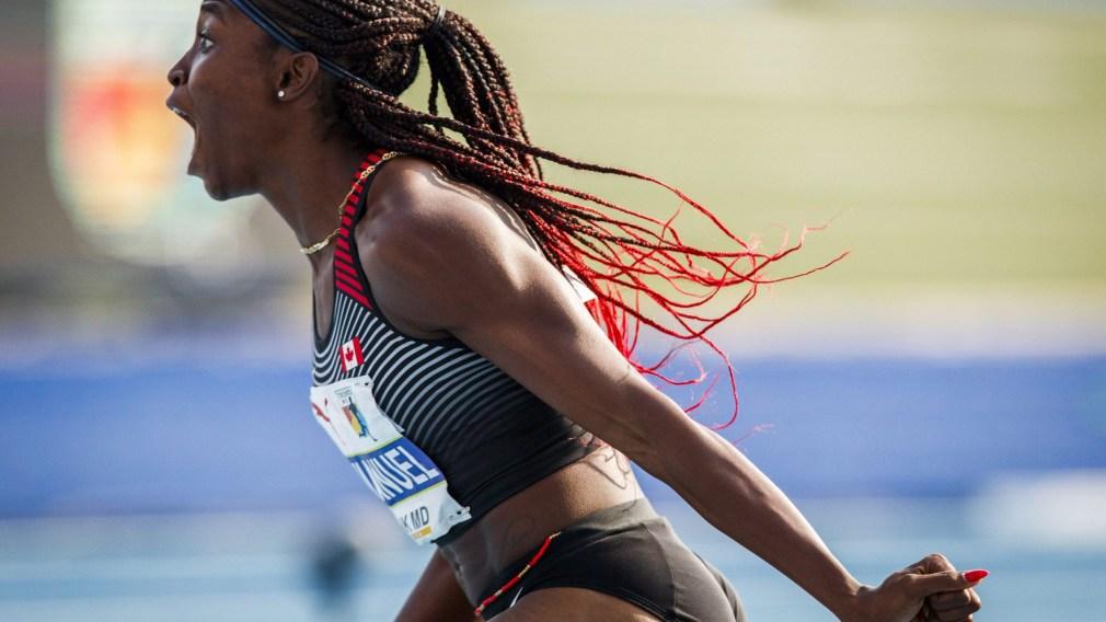 Crystal Emmanuel screams after a race