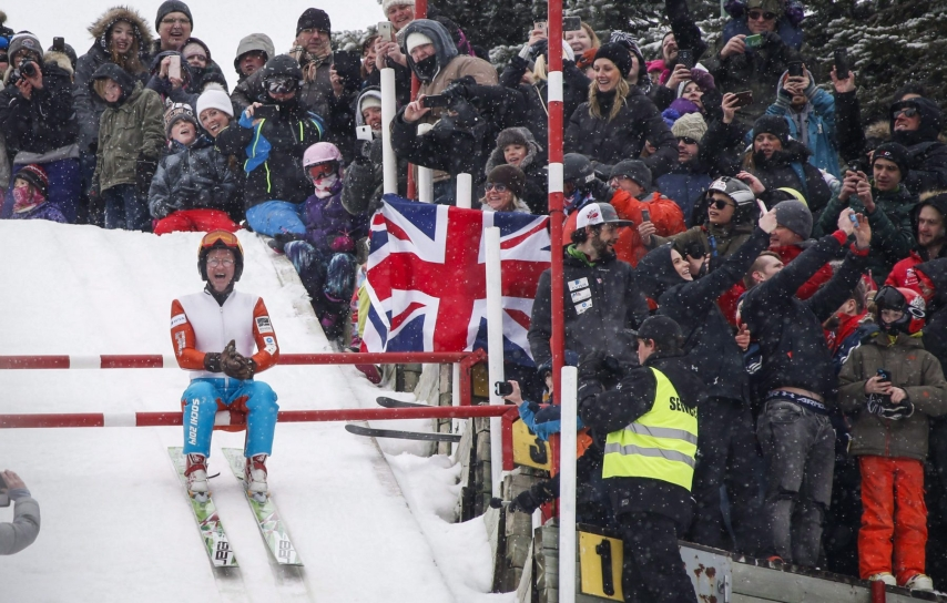 """Michael Edwards, best known as """"Eddie the Eagle,"""" prepares to start on the 38-metre ski jump tower in Calgary, Alta., Sunday, March 5, 2017, 29 years after competing in the 1988 Calgary Olympics.THE CANADIAN PRESS/Jeff McIntosh"""