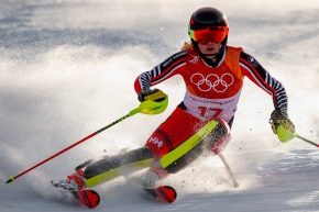 Erin Mielzynski, of Team Canada, skis during the first run of the women's slalom at the 2018 Winter Olympics in Pyeongchang, South Korea