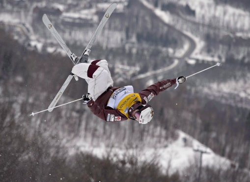 Mikael Kingsbury executing aerial flip