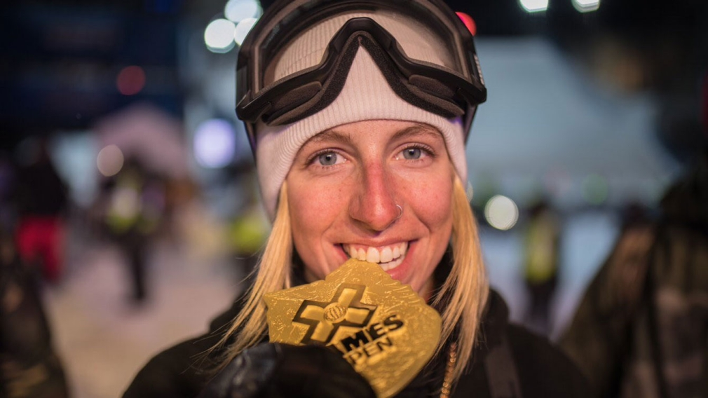Laurie Blouin, Cassie Sharpe and Rachael Karker reach the podium at the X Games