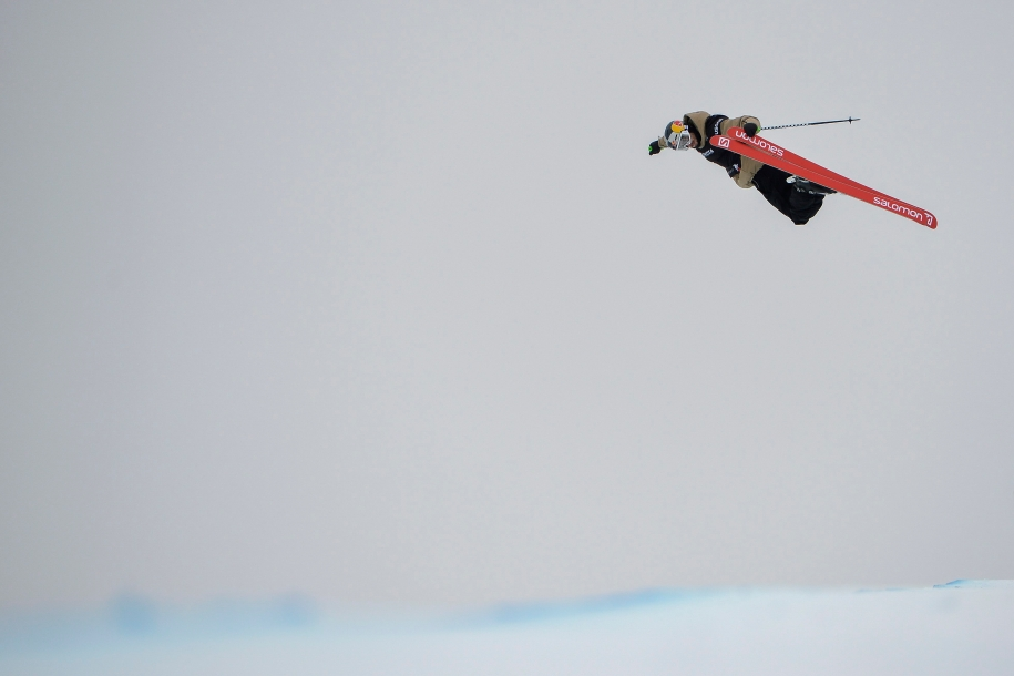 Noah Bowman of Canada competes during the men's skiing halfpipe world championships