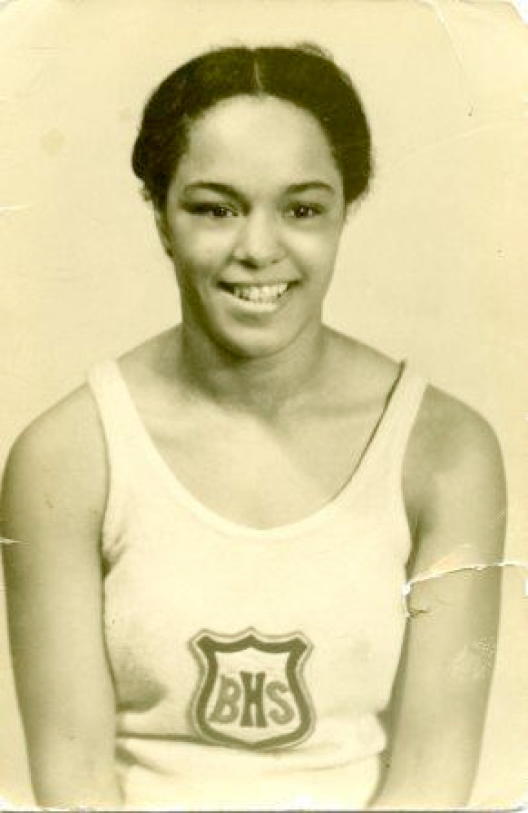 Vancouver sprinter Barbara Howard in her track uniform at Britannia High School, circa 1937-1938. Photo courtesy of BC Sports Hall of Fame. PNG)