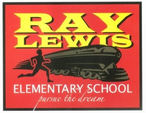 The logo of Ray Lewis Elementary School in Hamilton represents both of Lewis' jobs : sprinter and train porter.