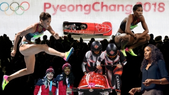 Collage of Phylicia George competing