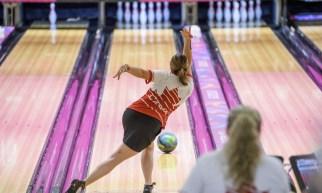 Valerie Bercier throws bowling ball