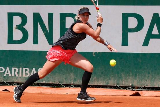 Bethanie Mattek-Sands of the U.S. returns the ball