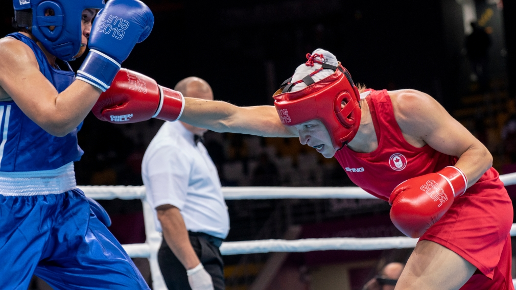 Team Canada's Myriam Da Silva wins her semi final match in women's welter weight boxing at the Lima 2019 Pan American Games