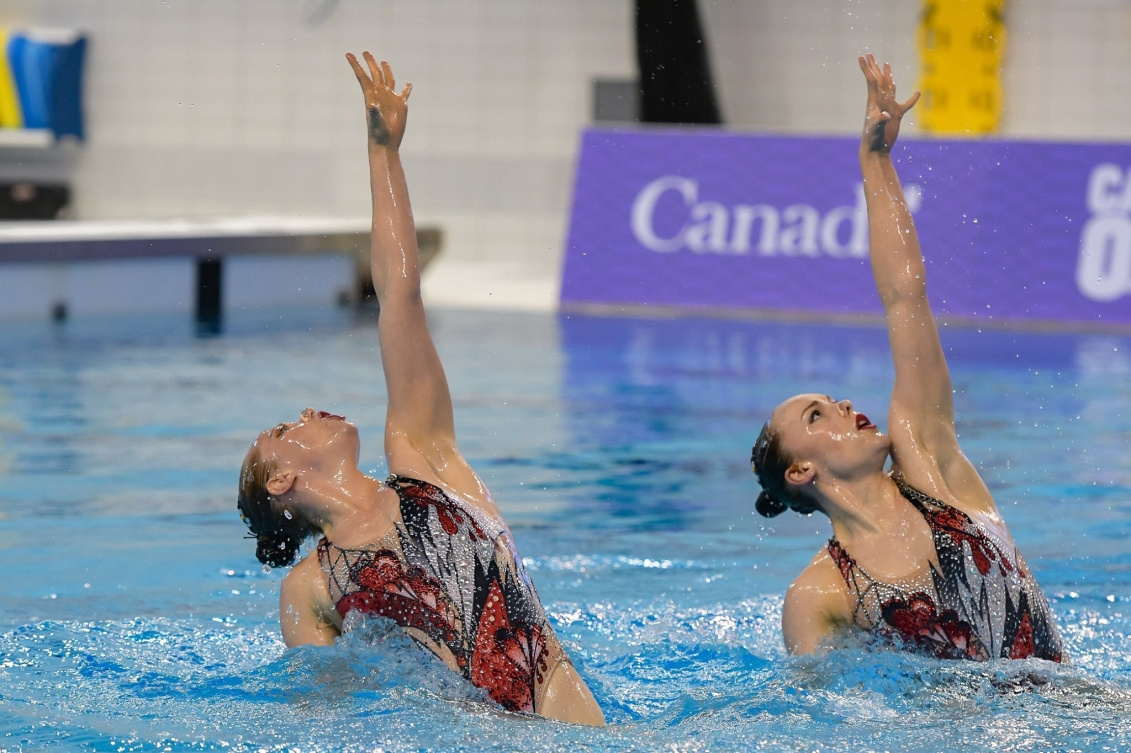 acqueline Simoneau (left) and Claudia Holzner (right) perform their technical duet routine.