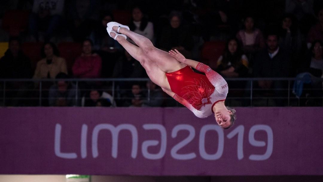 Samantha Smith mid-air in trampoline routine