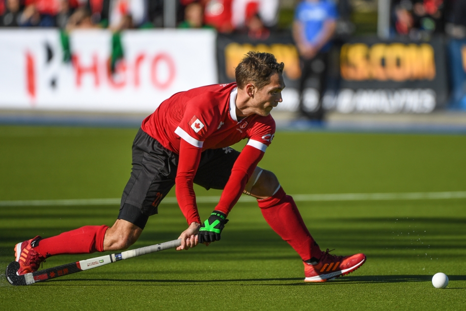 Field hockey player readying for penalty shot