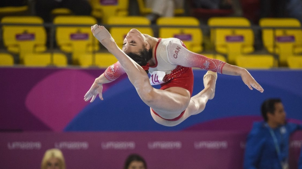 Brooklyn Moors of Canada competes in artistic gymnastics