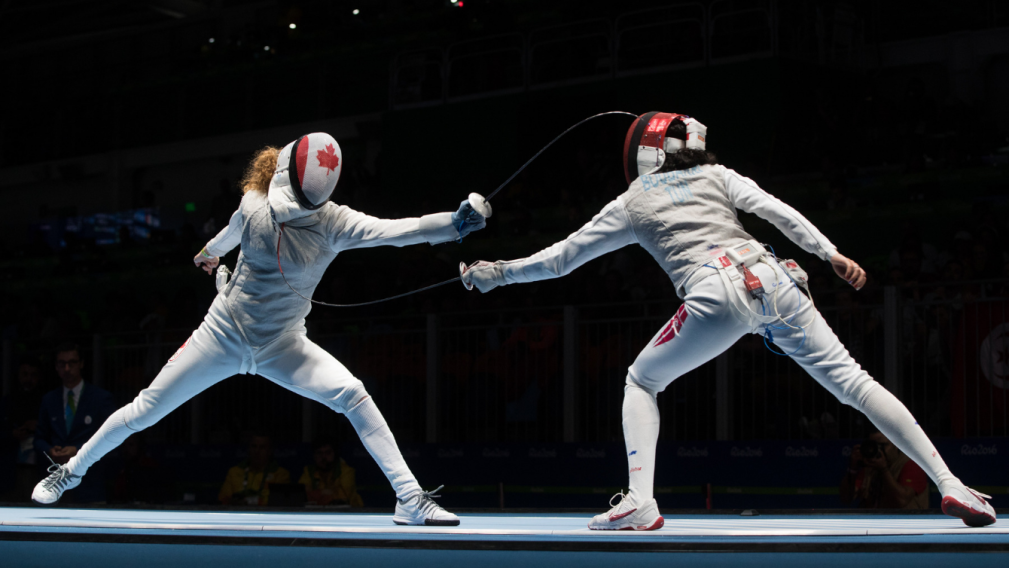 Fencers competing