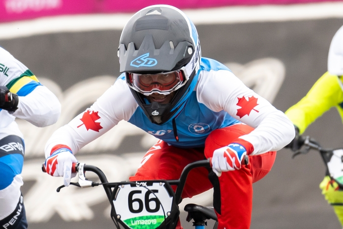 James Palmer of Canada competes in the first round of mens BMX race at the Pan American Games