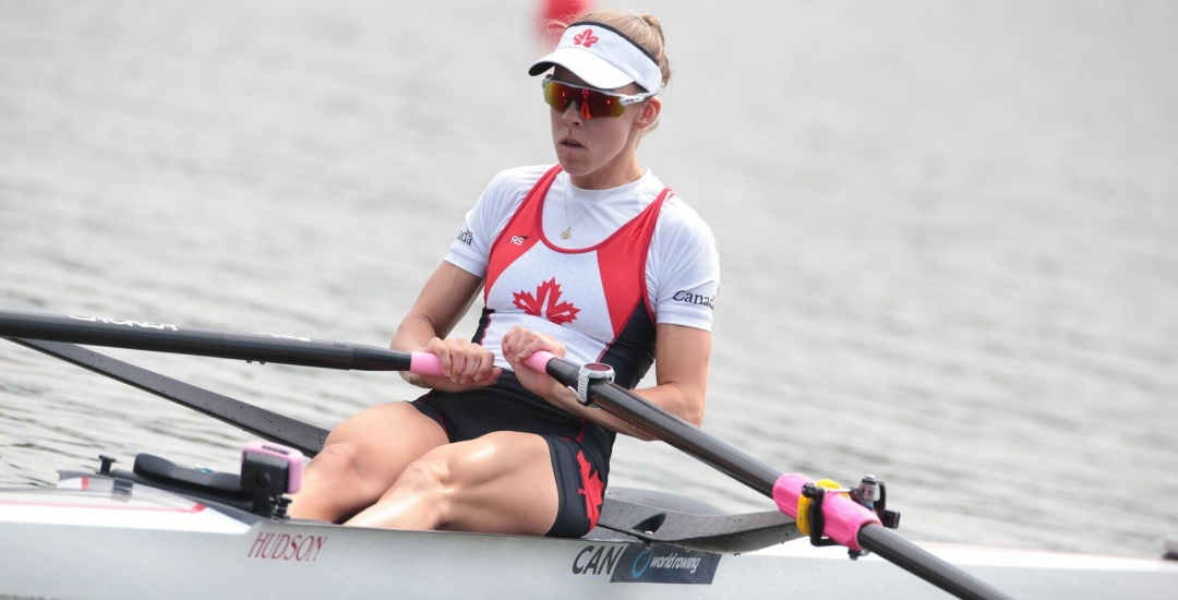 Jill Moffatt competes in the lightweight women's single sculls event at 2019 World Rowing Cup II in Poznan Poland.