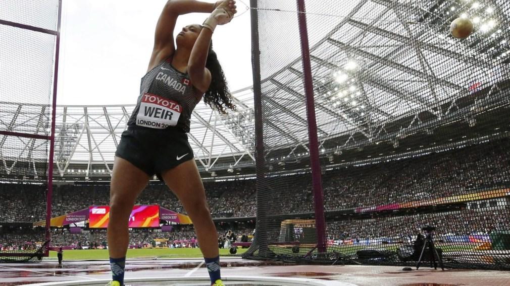 Jillian Weir makes an attempt in the women's hammer throw